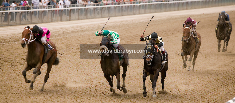 27 May 2006 - ELMONT, NY - 22 year-old French apprentice jockey Julien Leparoux (2L) rides El Vedado to a second place at Belmont Park hippodrome in Elmont, outside New York City, USA, 27 May 2006.