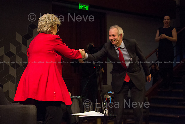 (From L to R) Viviane Reding and David Lidington. <br /> <br /> London, 06/02/2014. Today, the 44th &quot;Citizens' Dialogue&quot; took place at The Royal Institution (RI) in London hosted by Viviane Reding (Luxembourg politician, currently serving as the European Commission Vice-President and European Commissioner for Justice, Fundamental Rights and Citizenship; member of the European People's Party, EPP) and David Lidington (British Minister for Europe; member of the Conservative Party). About 400 people, moderated by Financial Times Political Editor George Parker, discussed with the two politicians about the future of Europe, citizens' rights, the recovery from the economic crisis, present and future of the UK inside the European Union.<br /> <br /> For more information and for the video of the event please click here: http://bit.ly/19boyhd