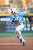 Cody Roberts (11) of the North Carolina Tar Heels hustles towards third base against the South Carolina Gamecocks at BB&T BallPark on April 3, 2018 in Charlotte, North Carolina. The Tar Heels defeated the Gamecocks 11-3. (Brian Westerholt/Four Seam Images)