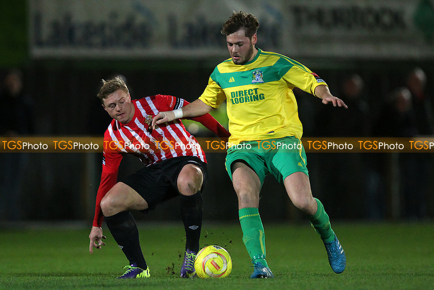 George Purcell of Hornchurch and James Goode of Thurrock during Thurrock vs AFC Hornchurch, Ryman League Divison 1 North Football at Ship Lane, Thurrock, England on 01/12/2015