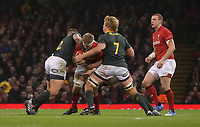 Wales' Aaron Wainwright is tackled by South Africa&rsquo;s Malcom Marx<br /> <br /> Photographer Ian Cook/CameraSport<br /> <br /> Under Armour Series Autumn Internationals - Wales v South Africa - Saturday 24th November 2018 - Principality Stadium - Cardiff<br /> <br /> World Copyright &copy; 2018 CameraSport. All rights reserved. 43 Linden Ave. Countesthorpe. Leicester. England. LE8 5PG - Tel: +44 (0) 116 277 4147 - admin@camerasport.com - www.camerasport.com