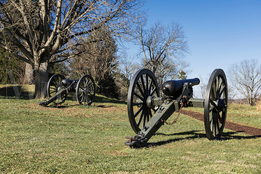 Canons on the Battle of Fredericksburg National Military Park, Virginia, USA