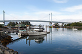 USA, Alaska, Sitka, boats in Sitka Harbor with the O'Connell bridge in the distance