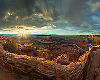 For a few minutes, the dawn sun broke through the storm clouds over Canyonlands, as seen from Dead Horse Point. This photo won first prize at the Maple Valley Art Show.