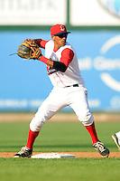 Lowell Spinners second baseman Deiner Lopez #5 during a game versus the Batavia Muckdogs at LeLacheur Park in Lowell, Massachusetts on August 3, 2013. (Ken Babbitt/Four Seam Images)