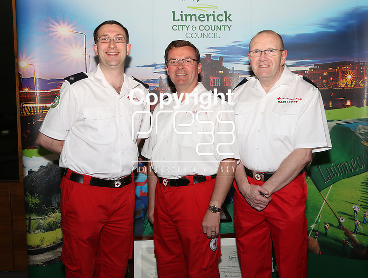 With compliments.  A Civic Reception on Wednesday evening last in the Council Chamber, Dooradoyle to honour the following  : The Irish Red Cross Limerick Area celebrating seventy five years of volunteer service to the people of Limerick City and County. The Under 20's Team 2014/2015 The Limerick Lakers Basketball Club in recognition of the Club winning The Cork County Cup, The Cork League Cup and The Cork League Top Four Playoff Cup and The Crescent College Comprehensive Senior Girls Hockey Squad in recognition of the Squad winning The All Ireland Kate Russell Hockey Tournament 2015.  Photographed at the event were members of the Irish Red Cross, Limerick Niall Boland, Murroe, Andrew Kelly, Limerick city and Raymond McCloskey, Ballysimon road.       Photograph Liam Burke/Press 22
