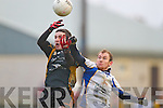 AIB GAA football all-Ireland junior club championship semi-final, Fuerty vs Keel. Held on saturday in Mick Neville Park, Rathkeale. <br /> <br /> Fuerty's Niall Keenan and Keel's Eoghan O'Connor go high and hard for the ball.