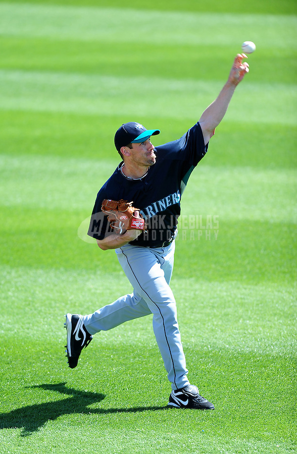 Mar. 10, 2010; Tempe, AZ, USA; Seattle Mariners pitcher Cliff Lee against the Texas Rangers during a spring training game at Surprise Stadium. Mandatory Credit: Mark J. Rebilas-