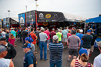 Jun 9, 2019; Topeka, KS, USA; Fans surround the pit area of NHRA top fuel driver Leah Pritchett during the Heartland Nationals at Heartland Motorsports Park. Mandatory Credit: Mark J. Rebilas-USA TODAY Sports