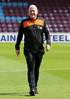 Blackpool's Manager Terry McPhillips inspects the pitch before kick off<br /> <br /> Photographer David Shipman/CameraSport<br /> <br /> The EFL Sky Bet League One - Scunthorpe United v Blackpool - Friday 19th April 2019 - Glanford Park - Scunthorpe<br /> <br /> World Copyright © 2019 CameraSport. All rights reserved. 43 Linden Ave. Countesthorpe. Leicester. England. LE8 5PG - Tel: +44 (0) 116 277 4147 - admin@camerasport.com - www.camerasport.com
