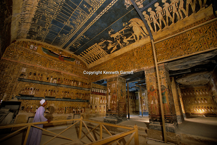 Tomb of Seti I, New Kingdom, Valley of the Kings, Egypt, Pharaoh, King, astronomical text and constellations on ceiling
