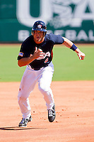 Brett Jackson #6 of the United States World Cup/Pan Am Team takes off for third base against Team Canada at the USA Baseball National Training Center on September 29, 2011 in Cary, North Carolina.  (Brian Westerholt / Four Seam Images)