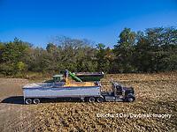 63801-08117 Corn Harvest, unloading corn into semi-truck - aerial Marion Co. IL