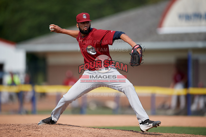 Mahoning Valley Scrappers relief pitcher Jean Carlos Mejia (36) delivers a pitch during the first game of a doubleheader against the Batavia Muckdogs on September 4, 2017 at Dwyer Stadium in Batavia, New York.  Mahoning Valley defeated Batavia 4-3.  (Mike Janes/Four Seam Images)