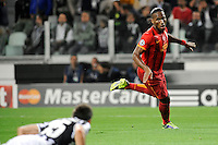 Galatasaray's forward Didier Drogba celebrates after scoring his 0-1 goal<br /> Torino 02-10-2013 Juventus Stadium<br /> UEFA Champions League 2013/2014<br /> Football Calcio Juventus vs Galatasaray<br /> Foto Insidefoto Giorgio Perottino