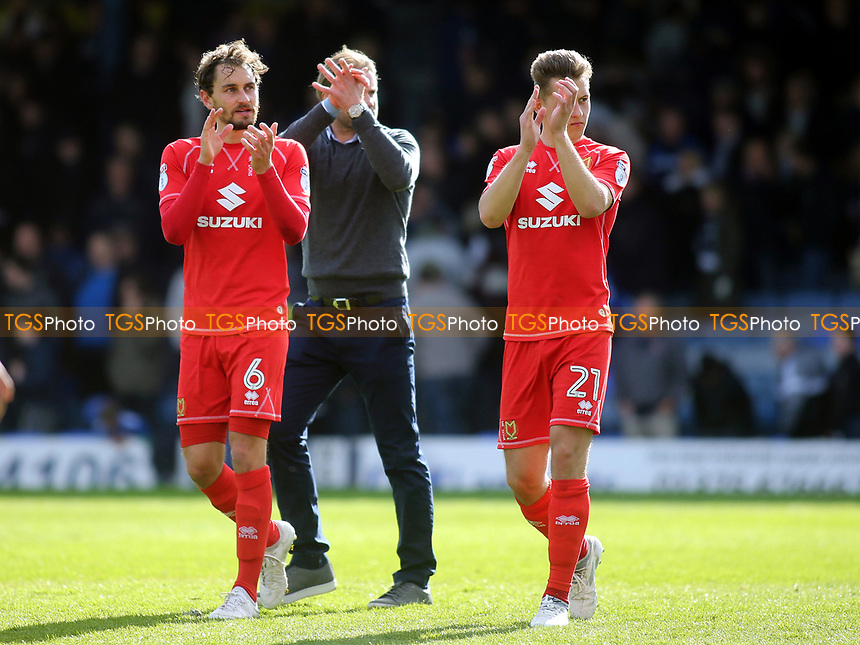 MK Dons players applaud their fans at the final whistle during Southend United vs MK Dons, Sky Bet EFL League 1 Football at Roots Hall on 17th April 2017