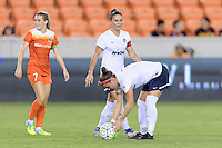 Houston, TX - Thursday Aug. 18, 2016: Ali Krieger, Christine Nairn during a regular season National Women's Soccer League (NWSL) match between the Houston Dash and the Washington Spirit at BBVA Compass Stadium.