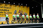 Team Dimension Data on stage at the Team Presentations for the 105th Tour de France 2018 held on Napoleon Square in La Roche-sur-Yon, France. 5th July 2018. <br /> Picture: ASO/Bruno Bade | Cyclefile<br /> All photos usage must carry mandatory copyright credit (&copy; Cyclefile | ASO/Bruno Bade)