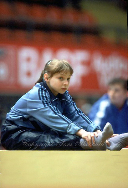 Daniela Silivas of Romania prepares to warmup on floor exercise at 1985 European Championships in women's artistic gymnastics at Helsinki, Finland in late April, 1985.  Photo by Tom Theobald.