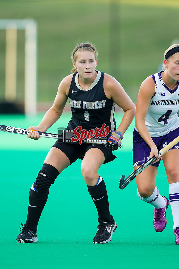 Christine Conroe (4) of the Wake Forest Demon Deacons during first half action against the Northwestern Wildcats at Kentner Stadium on September 11, 2014 in Winston-Salem, North Carolina.  The Demon Deacons defeated the Wildcats 1-0.  (Brian Westerholt / Sports On Film)