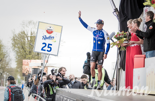 Philippe Gilbert (BEL/Quick Step floors) mounting the Amstel podium for a 4th time as race winner<br /> <br /> 52nd Amstel Gold Race (1.UWT)<br /> 1 Day Race: Maastricht &rsaquo; Berg en Terblijt (264km)