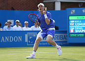 June 19th 2017, Queens Club, West Kensington, London; Aegon Tennis Championships, Day 1; Denis Shapovalov of Canada celebrates winning a point versus Kyle Edmund of Great Britain