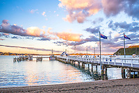 Russell Pier at sunset, Bay of Islands, Northland Region, North Island, New Zealand