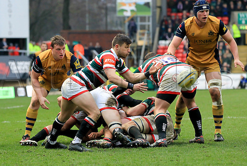 February 18th 2017,  Leicester, England; Aviva Premiership Rugby, Leicester versus Bristol;  Jono Kitto spins the ball out wide to get the Tigers back line moving