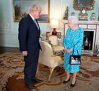 24 July 2019 - London, UK - Queen Elizabeth II welcomes newly elected leader of the Conservative party Boris Johnson during an audience in Buckingham Palace, London, where she invited him to become Prime Minister and form a new government. Photo Credit: ALPR/AdMEdia