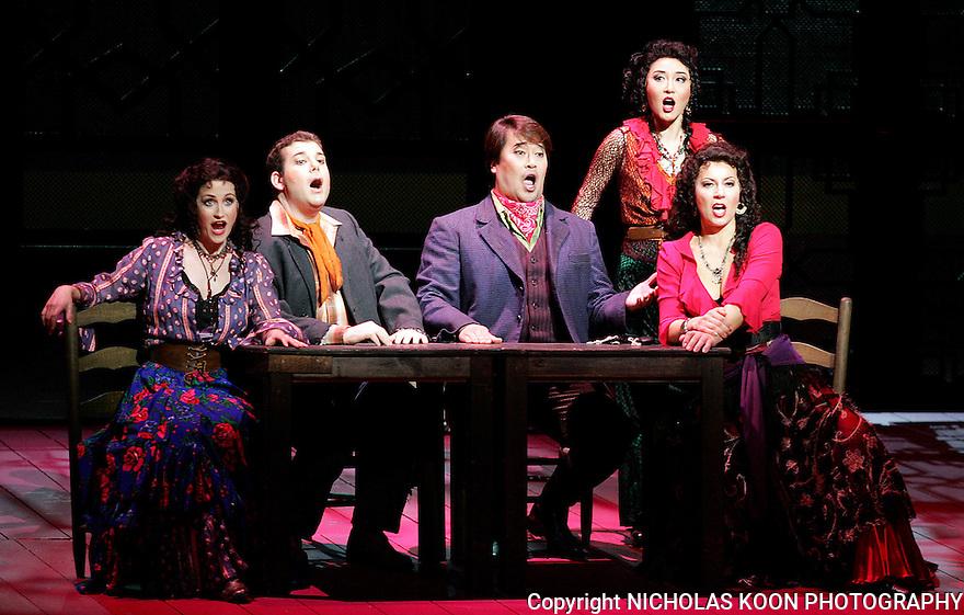 2007 - CARMEN - Adriana Zabala as Mercedes, Mark T. Panuccio as El Remendado, In Joon Jang as El Dancairo, Joohee Choi as Frasquita and Milena Kitic as Carmen in Opera Pacific's production of Carmen.