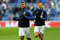 Alfredo Morelos of Rangers warms up ahead of the match during Rangers vs Villarreal CF, UEFA Europa League Football at Ibrox Stadium on 29th November 2018