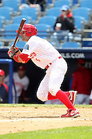 Reading Phillies outfielder Michael Spidale #6 at bat at bat during a game against the New Hampshire Fisher Cats at FirstEnergy Stadium on May 5, 2011 in Reading, Pennsylvania.  New Hampshire defeated Reading by the score of 10-5.  Photo By Mike Janes/Four Seam Images