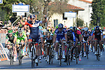 Matteo Pelucchi, IAM Cycling, won a combative sprint in the  Tuscan village of Cáscina today to win Stage 2 of the 2014 Tirreno-Adriatico, running from San Vincenzo to Càscina (166 km). 13th March 2014.      <br /> Photo: Gian Mattia D'Alberto/LaPresse/www.newsfile.ie