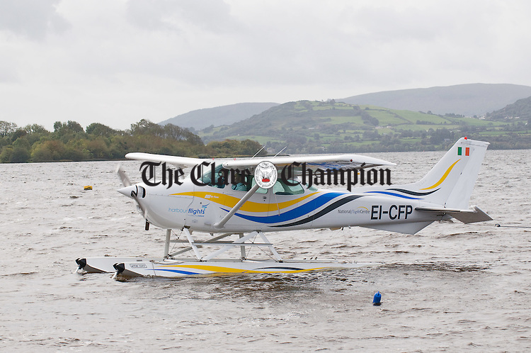 The Harbour Flights seaplane about to dock at Mountshannon. Photograph by John Kelly.