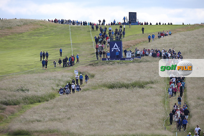 The 18th tee during the First Round of the 2015 Aberdeen Asset Management Scottish Open, played at Gullane Golf Club, Gullane, East Lothian, Scotland. /09/07/2015/. Picture: Golffile | David Lloyd<br /> <br /> All photos usage must carry mandatory copyright credit (&copy; Golffile | David Lloyd)