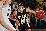 JANUARY 30, 2015 -- Gabriela Vega #24 of Regis University drives on Courtney Patterson #24 of Black Hills State during their Rocky Mountain Athletic Conference women's basketball game Friday evening at the Donald E. Young Center in Spearfish, S.D.  (Photo by Dick Carlson/Inertia)