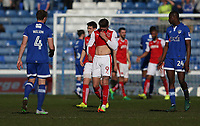 Fleetwood Town's Wes Burns shows his dejection at the final whistle<br /> <br /> Photographer Stephen White/CameraSport<br /> <br /> The EFL Sky Bet League One - Oldham Athletic v Fleetwood Town - Saturday 8th April 2017 - SportsDirect.com Park - Oldham<br /> <br /> World Copyright &copy; 2017 CameraSport. All rights reserved. 43 Linden Ave. Countesthorpe. Leicester. England. LE8 5PG - Tel: +44 (0) 116 277 4147 - admin@camerasport.com - www.camerasport.com