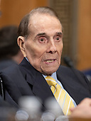 Former United States Senate Majority Leader Bob Dole (Republican of Kansas) endorses the nomination of CIA Director Mike Pompeo to be US Secretary of State before the US Senate Committee on Foreign Relations on Capitol Hill in Washington, DC on Thursday, April 12, 2018.<br /> Credit: Ron Sachs / CNP