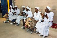 Merzouga, Morocco.  Gnaoua Musicians Performing.