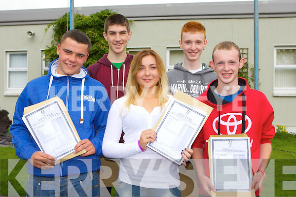 Killarney Community College pupils John Murhill, Kevin brosnan, Darla Sitnik, Sean Horgan and Conor Courtney delighted with their results after they collected the Leaving Cert results on Wednesday