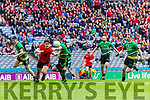 Gavan O'Grady Glenbeigh Glencar in action against Ciaran Gourle Rock Saint Patricks in the Junior Football All Ireland Final in Croke Park on Sunday.