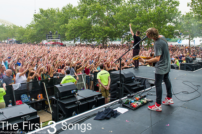 Søren Hansen of New Politics performs at the 2014 Bunbury Music Festival in Cincinnati, Ohio