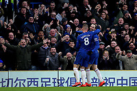 Gonzalo Higuain celebrates scoring Chelsea's fourth goal with Ross Barkley during Chelsea vs Huddersfield Town, Premier League Football at Stamford Bridge on 2nd February 2019