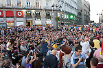 Protesters participate at an indignados demonstration in Madrid. 14 May 2012..(Alterphotos/Alconada)