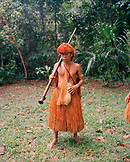 PERU, Amazon Rainforest, South America, Latin America, front view of an Yogua Indian men with blowgun at Amazon Rainforest