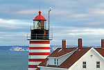Winter view of West Quoddy Head Lighthouse in Lubec, Maine, USA