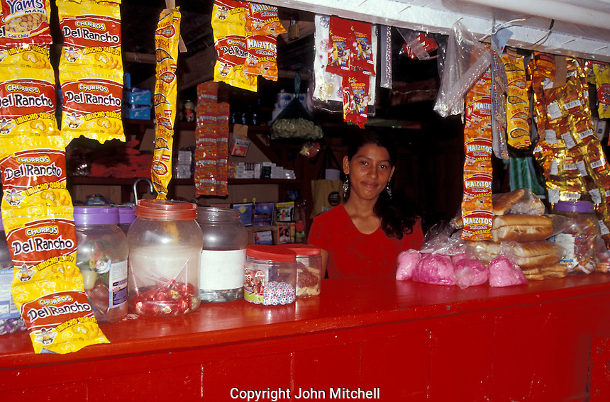 Young woman selling snacks in the town of Altagracia, Isla de Ometepe, Nicaragua.