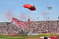 The Red Devils Freefall Team in action prior to the match. Aviva Premiership match, between Bath Rugby and Newcastle Falcons on September 23, 2017 at the Recreation Ground in Bath, England. Photo by: Patrick Khachfe / Onside Images