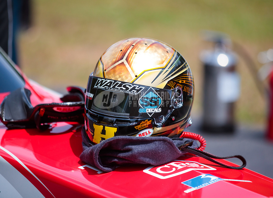 May 4, 2019; Commerce, GA, USA; Detailed view of the helmet of NHRA top fuel driver Clay Millican during qualifying for the Southern Nationals at Atlanta Dragway. Mandatory Credit: Mark J. Rebilas-USA TODAY Sports