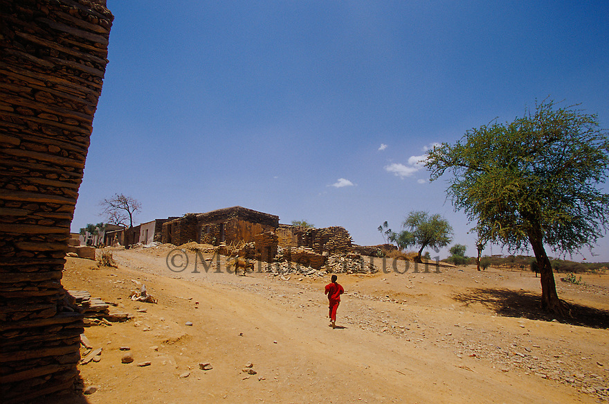 Eritrea - Debub- Young boy running in the streets of a village. As a result of 30 years of war for independence against Ethiopia (from 1961 to 1991) and another 3 years from 1997 to 2000, there are 50,000 Eritreans currently living in internally displaced (IDP) camps throughout the country. These IDPs have fled three times in the last 10 years, each time because of renewed military conflict. They lived in relatives' homes when lucky enough, but mostly, the fled to the mountains, where they attempted to do what Eritreans do best, survive. Currently there is no Ethiopian occupation in Eritrea, but landmines prevent the IDPs from finally going home. .It is estimated that every Eritrean family lost two or three members to the war which makes the reality of the current emergency situation even more painful for Eritreans worldwide. Currently, the male population has been decreased dramatically, affecting the most fundamental socio-economic systems in the country. Among the refugee population, an overwhelming majority of families are female-headed, severely affecting agricultural production. For, IDPs in particular, 80% of households are female-headed..The unresolved border dispute with Ethiopia remains the most important drawback to Eritrea's socio-economic development, as national resources (human and material) continue to be prioritized for national defense. Eritrea is vulnerable to recurrent droughts and variable weather conditions with potentially negative effects on the 80 percent of the population that depend on agriculture and pastoralism as main sources of livelihood. The situation has been exacerbated by the unresolved border dispute, resulting in economic stagnation, lack of food security and increased susceptibility of the population to various ailments including communicable diseases and malnutrition..